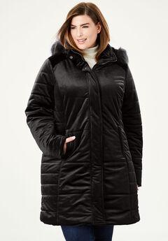 Velvet Puffer Coat, BLACK