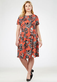 Fit & Flare Dress, BURNT RED TROPICAL FLORAL