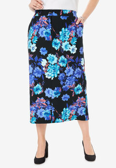 Tummy Control Bi-Stretch Midi Skirt, BLACK WATERCOLOR ROSE