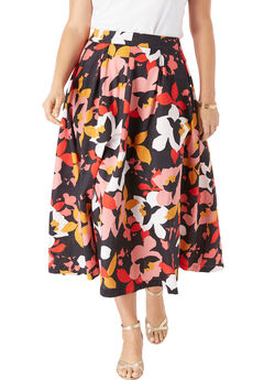 Floral Skirt, CORAL GRAPHIC FLORAL