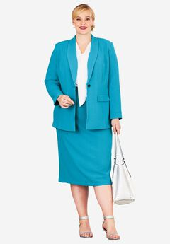 Single-Breasted Skirt Suit, ANTIQUE TURQ