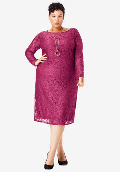 Lace Shift Dress, BERRY TWIST