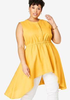 Asymmetrical Linen Tunic, SUNSHINE YELLOW