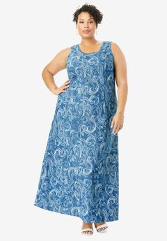 Denim Maxi Dress, WHITE DOTTED PAISLEY