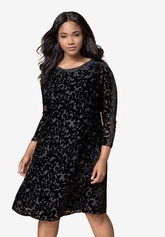 Burnout Velvet Fit-And-Flare Dress,