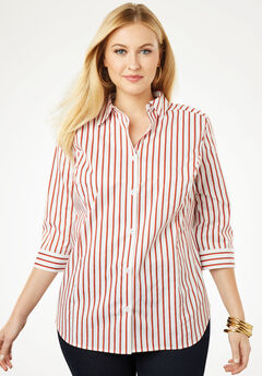 Poplin Shirt, BURNT RED STRIPE