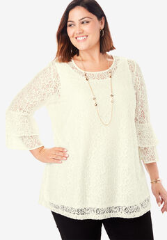 Lace Bell Sleeve Tunic, IVORY