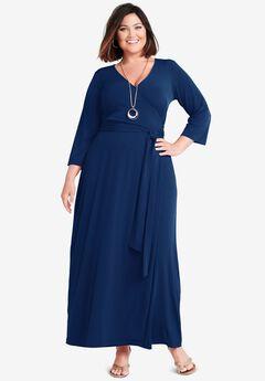 Faux Wrap Maxi Dress, EVENING BLUE