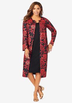 Ponte Jacket Dress, RED ROSE