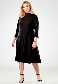 Travel Knit Fit & Flare Dress, BLACK