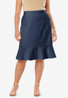 Flounced Bi-Stretch Skirt, NAVY