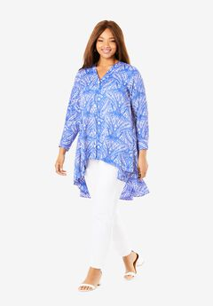 Hi-Low Georgette Tunic, BLUE MIRRORED PAISLEY