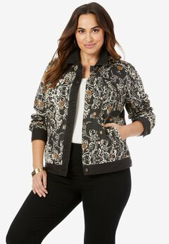 Classic Cotton Denim Jacket, BLACK MEDALLION LEOPARD