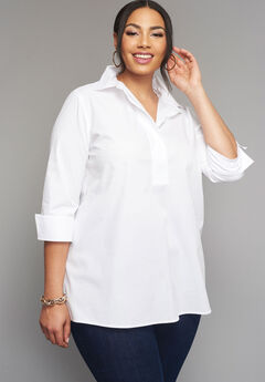 Poplin Pleat Back Shirt, WHITE