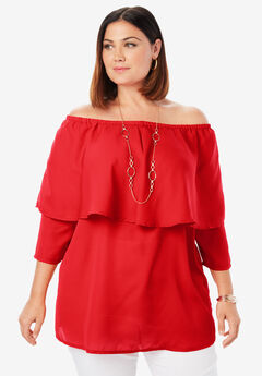 Off-The-Shoulder Georgette Tunic, HOT RED