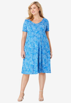 Crossback Trapeze Dress, HORIZON BLUE ABSTRACT WATERCOLOR
