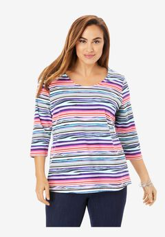 Scoopneck Tee, HORIZONTAL PAINTERLY STRIPE