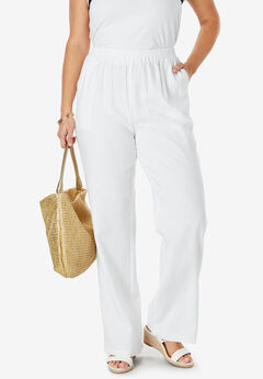 Lightweight Linen-Blend Wide-Leg Pants, WHITE