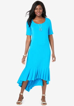 Everyday Knit Flounce Hem Maxi Dress,