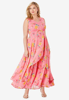 Flyaway Maxi Dress, CORAL BLUSH IRIS FLOWER