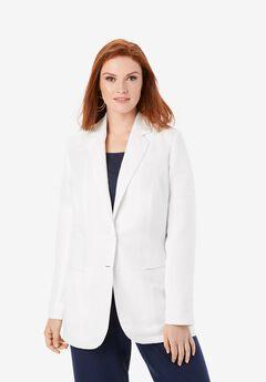 Linen Blazer, WHITE