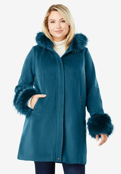 Hooded Faux Fur Trim Coat, OCEAN TEAL