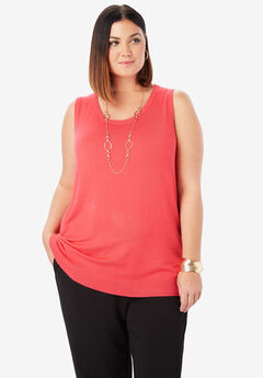 Sleeveless Crew Neck Sweater, SUNSET CORAL