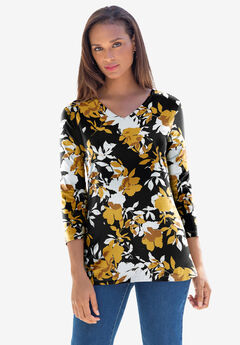 V-Neck Tee, GOLD SHADOW FLORAL