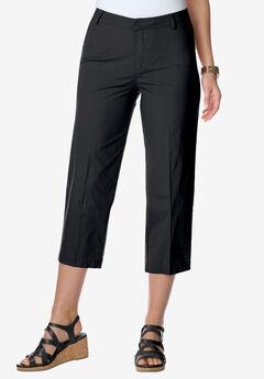 Capri Pants in Poplin , BLACK