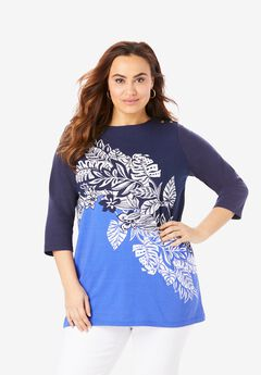 Boatneck Tunic, BLUE GRAPHIC TROPICAL