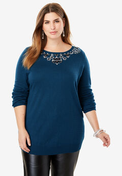 Jewel Neck Cotton Cashmere Sweater, TWILIGHT TEAL
