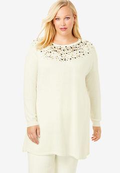 Jewel Neck Cotton Cashmere Sweater,