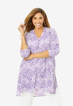 Flyaway V-Neck Tunic, PURPLE ANIMAL