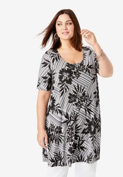 Mega Knit Tunic, BLACK HAWAIIAN STRIPE