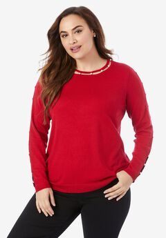 Pearl-Trim Sweater,