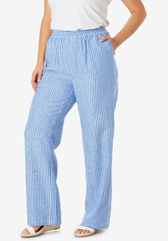 Lightweight Linen-Blend Wide-Leg Pants, HORIZON BLUE BENGALS STRIPE