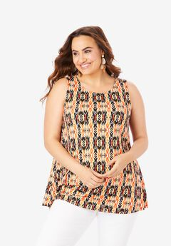 Sleeveless Swing Tunic, ORANGE TRIBAL IKAT