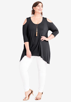 Handkerchief Hem Tunic, BLACK