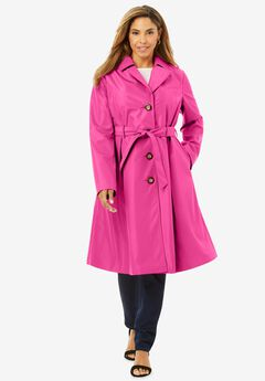 Pleated Trench Coat, TROPICAL RASPBERRY