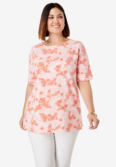 Cuff Tee, CORAL BLUSH ABSTRACT WATERCOLOR