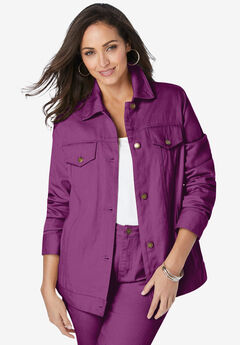 Classic Cotton Denim Jacket, PURPLE TULIP