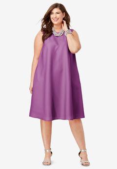 Back Pleat Dress, TRUE PURPLE