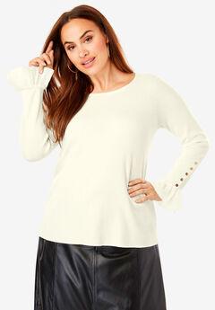 Lace Cuff Sweater, IVORY