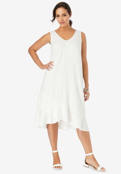 Linen Flounce Dress,
