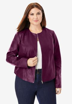 Collarless Leather Jacket, DARK BERRY