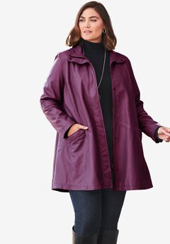 A-Line Zip Front Leather Jacket, DARK BERRY