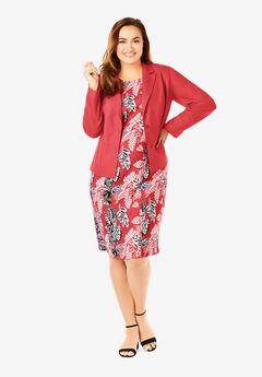 Single Breasted Jacket Dress, GERANIUM LEAF BOUQUET