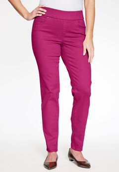 Comfort Waistband Jeans, BERRY
