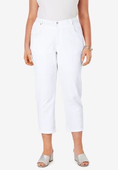 L-Pocket Denim Capris, WHITE