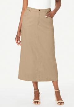 Classic Cotton Denim Long Skirt, NEW KHAKI